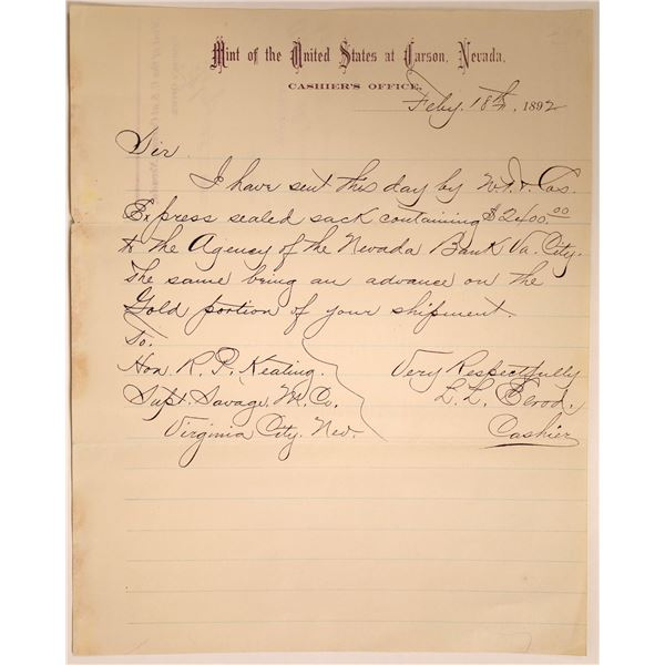 Carson City Mint Letter Re: Wells Fargo Shipment of Gold Coins   [131776]