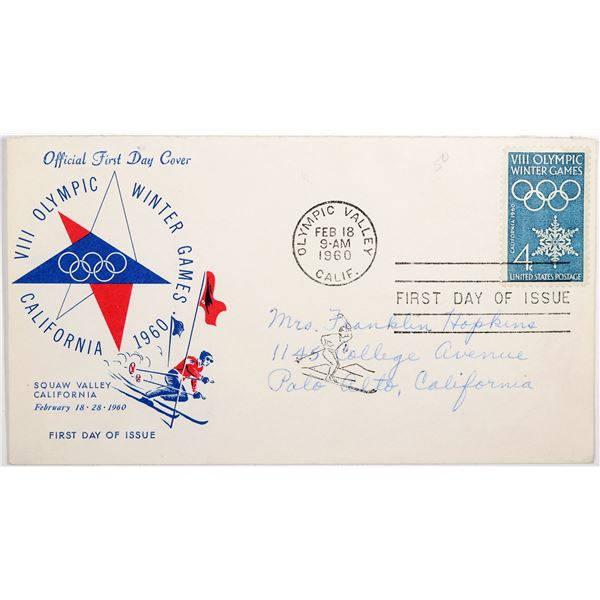 Monte Carlo Dance Hall Token & First Day Cover 1960 Winter Olympics  [129326]