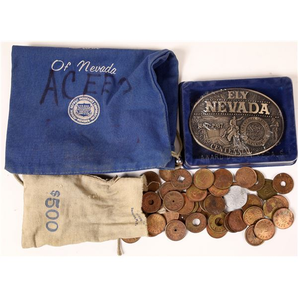 Ely Coin Bags, Centennial Belt Buckle and Token Collection  [126100]