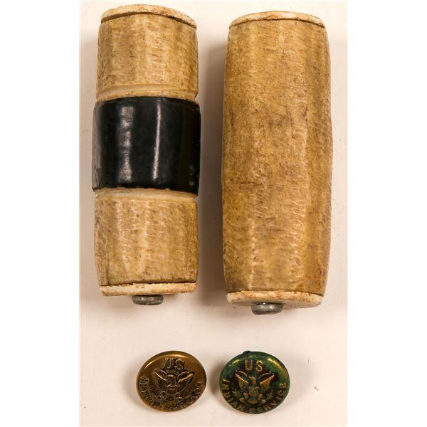 Native American Gambling Bones, Buttons & More / 3 Items.  [109612]