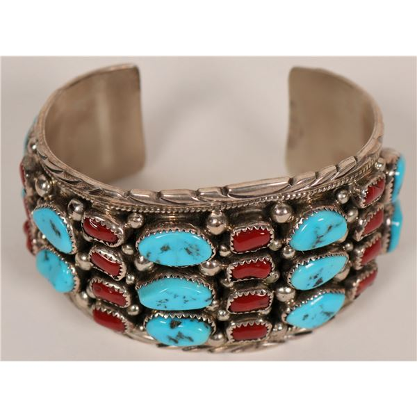 Vintage Sterling Silver Turquoise and Coral Cluster Cuff  [135315]