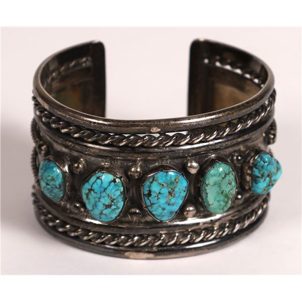 Heavy Turquoise and Silver Cuff  [133863]