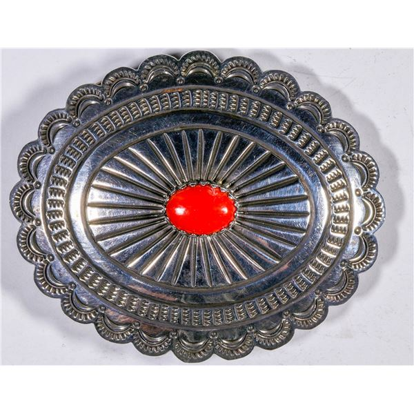 Silver and Coral Belt Buckle  [133869]