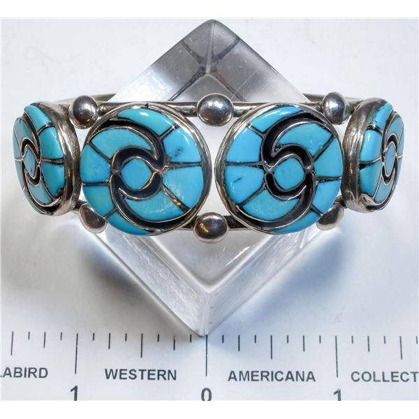 Annie Quam Gasper Inlaid Zuni Turquoise Bracelet  [135604]