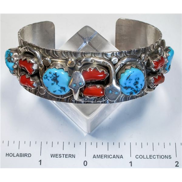 Large Size Turquoise and Coral Bracelet w/ Snake Motif  [135600]