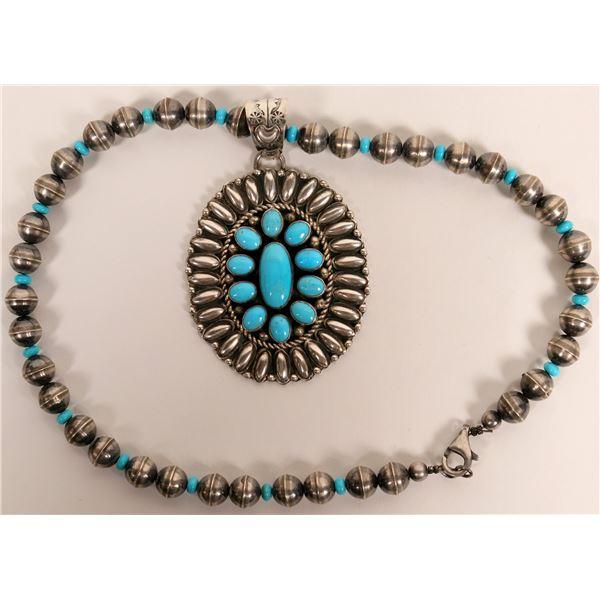Turquoise Pendant Necklace  [135405]