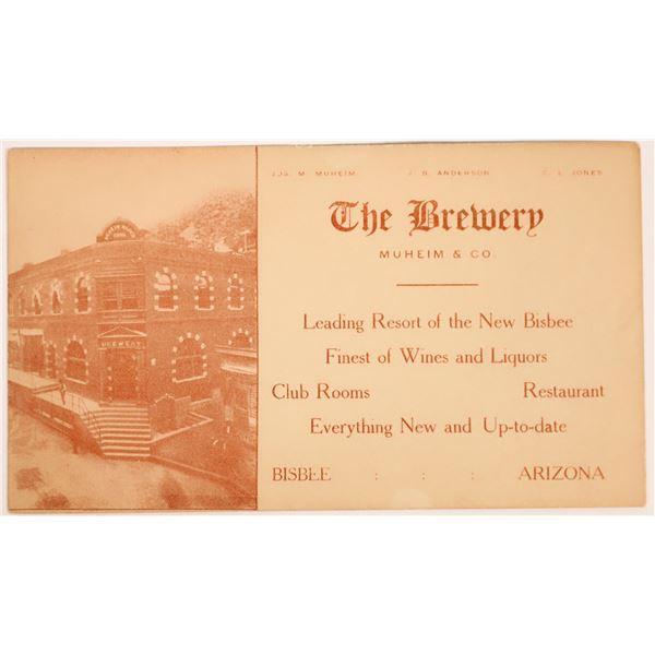 Bisbee, Arizona Saloon Advertising Card  [131979]
