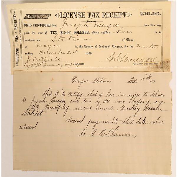 Arizona Territory Tax Receipt & Ore Shipment Receipt  [127616]