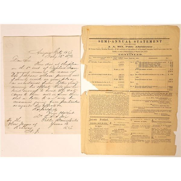 Arizona Letter Dealing With Typhoid Fever Victim  [131777]