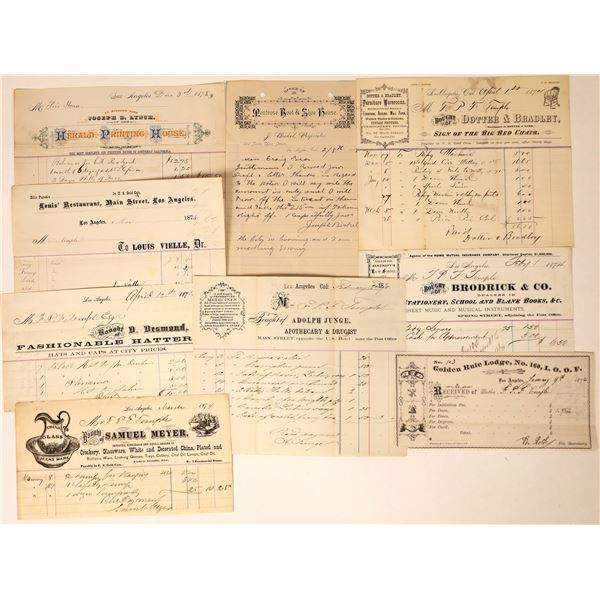 1870's Los Angeles Billheads (9)  [131761]
