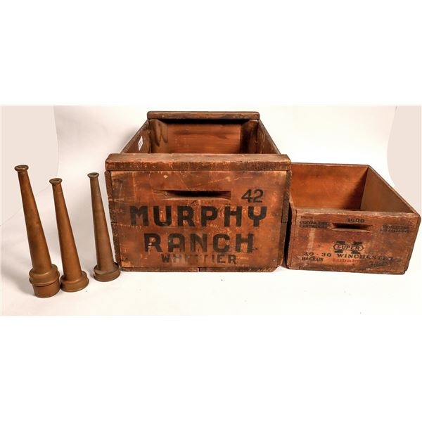 Murphy Ranch wooden tote, Ammo Box, and Fire Hose Nozzles  [129685]