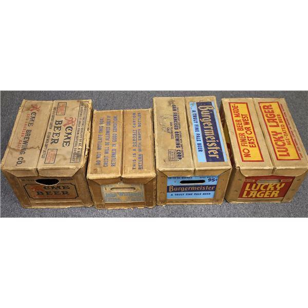 Four Vintage Heavy Cardboard Beer Boxes  [121709]