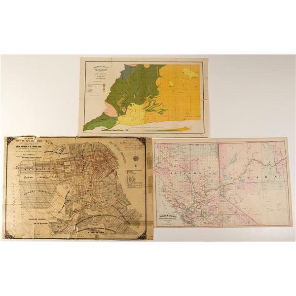 Antique California Maps c1872-1896 (Lot of 3)  [31975]