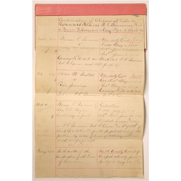 P.T. Barnum Subdivision Abstract of Title, Denver, 1890  [111843]