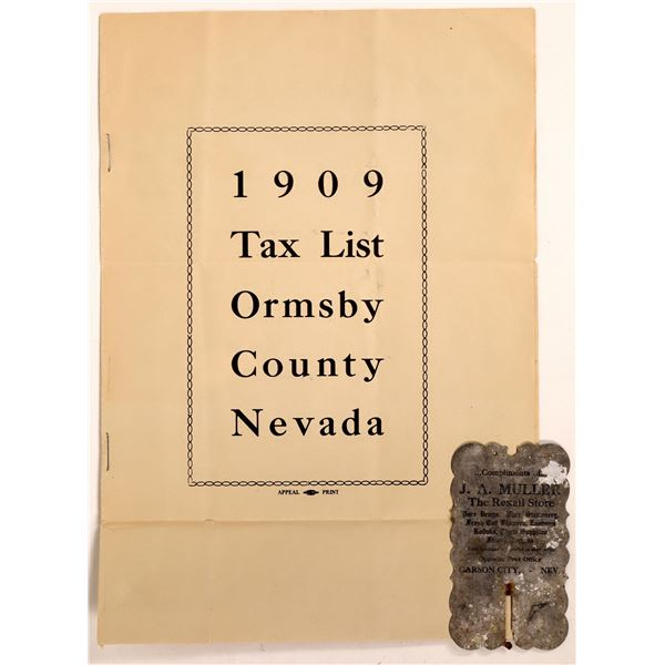 1909 Carson City Tax List and Bottle Back  [131474]