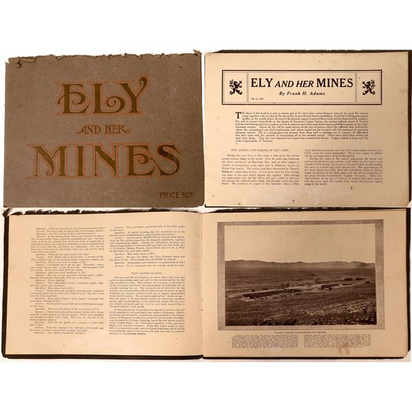 """Rare """"Ely and Her Mines"""" Booklet and Steptoe Drainage Map [130108]"""