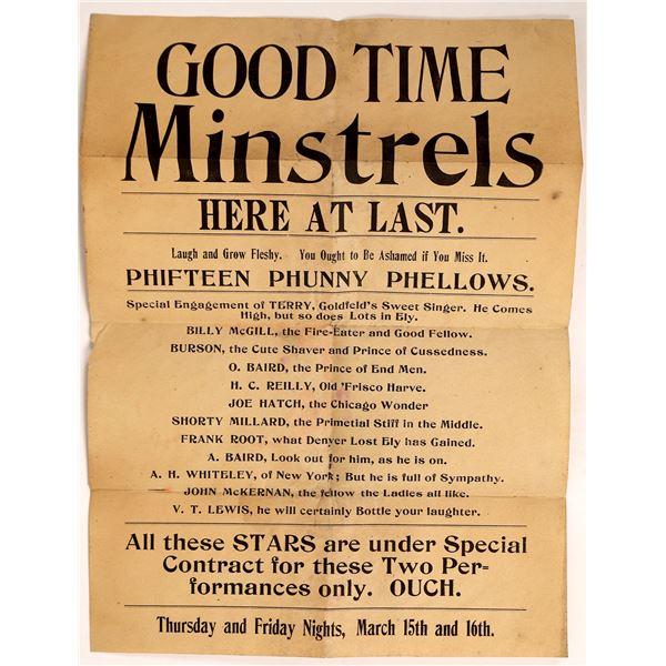 Rare Ely Broadside for Minstrel Show  [131839]