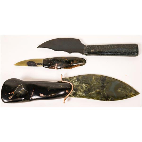 Three Jerry Gray Nephrite Blades (Jade)  [130093]