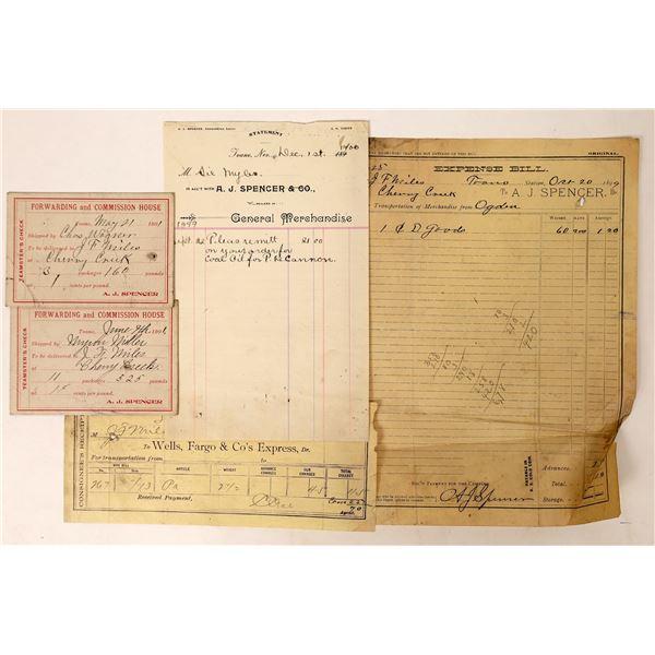 Toano, Nevada Ephemera Group including rare Wells Fargo and hard board teamster's checks  [130067]