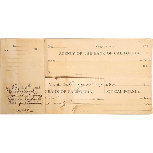 Bank Of California Check Register Book 1895  [132247]