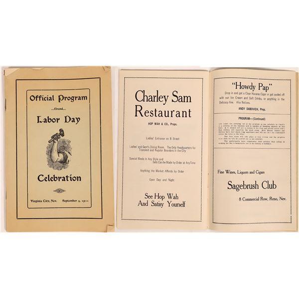 Virginia City Labor Day Program 1911  [131471]