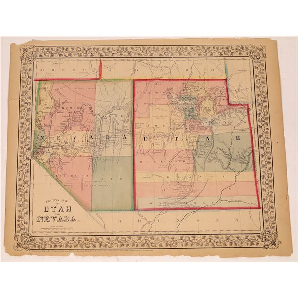 County Map of Utah and Nevada  [133780]