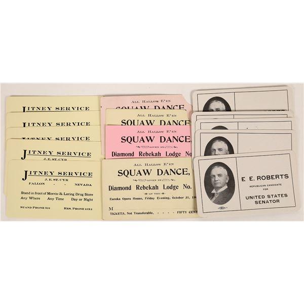 Early 1900's Nevada Business Cards.  E.E. Roberts U.S. House  [125505]