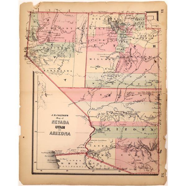 Early Map of Nevada, Utah, and Arizona 1862  [132959]
