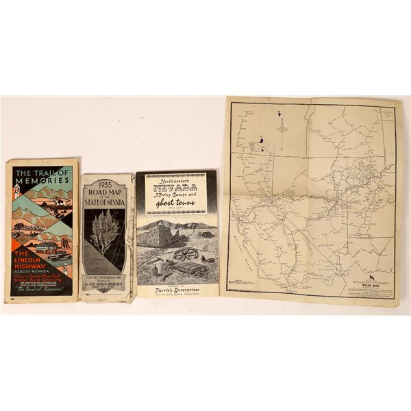 Three Interesting Nevada Historical Road Maps including the Lincoln Highway  [130059]