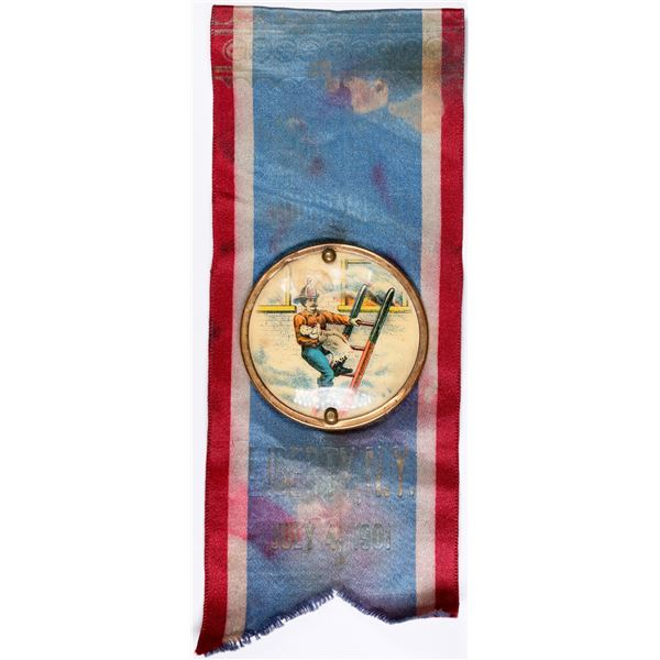 Fireman's Badge and Ribbon - Color Celluloid 1901 - Rare!  [132251]