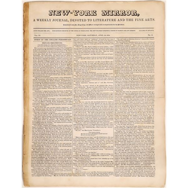 """Rare 1834 """"New-York Mirror"""" Weekly Journal in Very Good Condition  [129737]"""