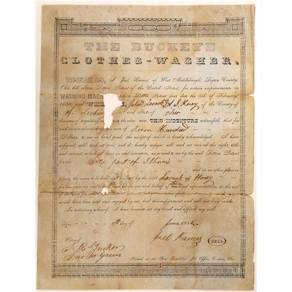 Unique Receipt for Sale of Patent for a Washing Machine 1852  [127609]