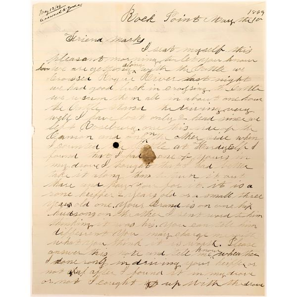 Letter Sent During an Oregon to California Cattle Drive  [127622]