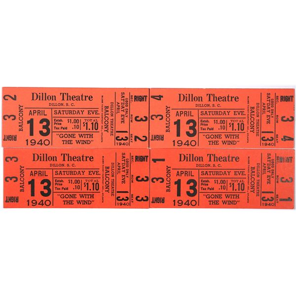 Gone With the Wind Movie Tickets FIRST RUN (4) South Carolina 1940  [129731]