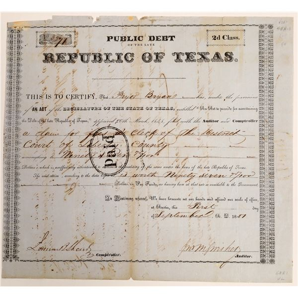 Republic of Texas class 2d Debt Relief issued to Pryor Bryan for roll of clerk  [130148]