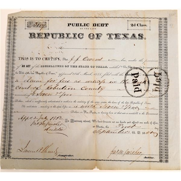 Republic of Texas class 2d Debt Relief issued to JJ Expedition, 1851   [130146]