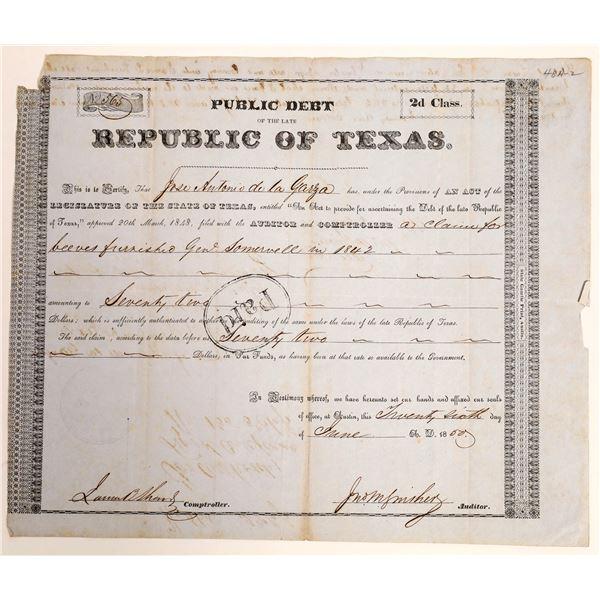 Republic of Texas class 2d Debt Relief issued to Jose Antonio de la Garza  [130158]