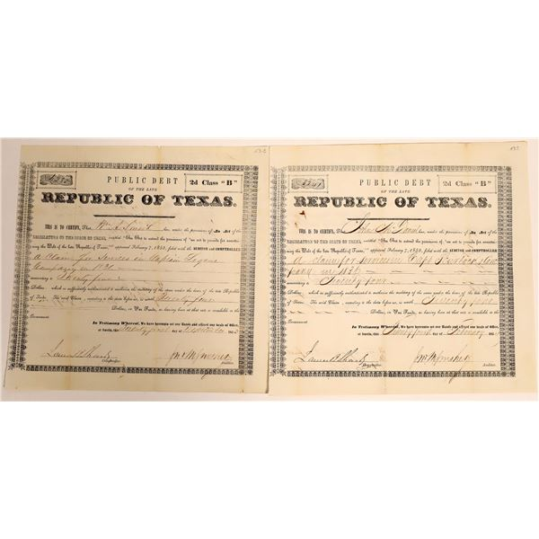 Republic of Texas class 2d Debt Relief issued to John Seymour and Joseph Strickland; Fannin County T