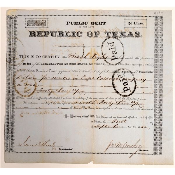 Republic of Texas class 2d Debt Relief issued to Josiah Taylor of the Gonzalez Rangers, 1840  [13015