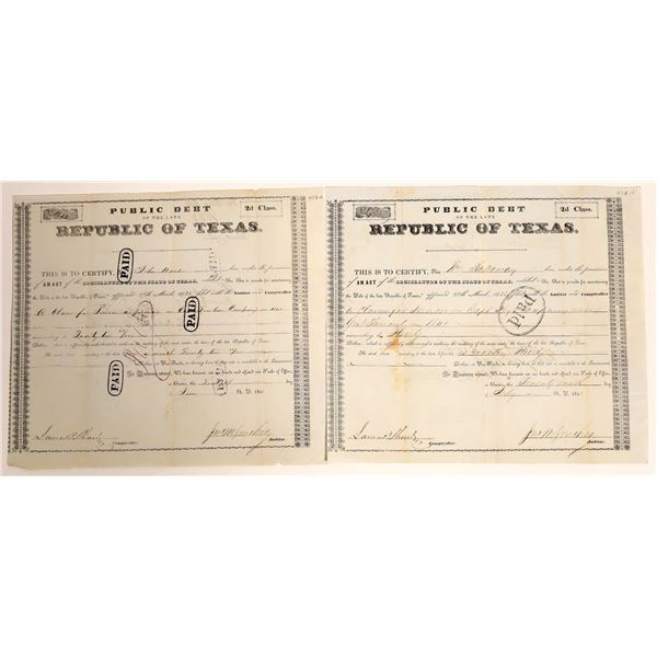 Republic of Texas class 2d Debt Relief issued to John Hart and William Holloway for military service