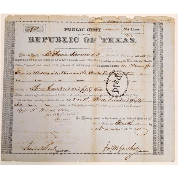 Republic of Texas class 2d Debt Relief issued to the Est. Thomas Hancock for losses in the Santa Fe