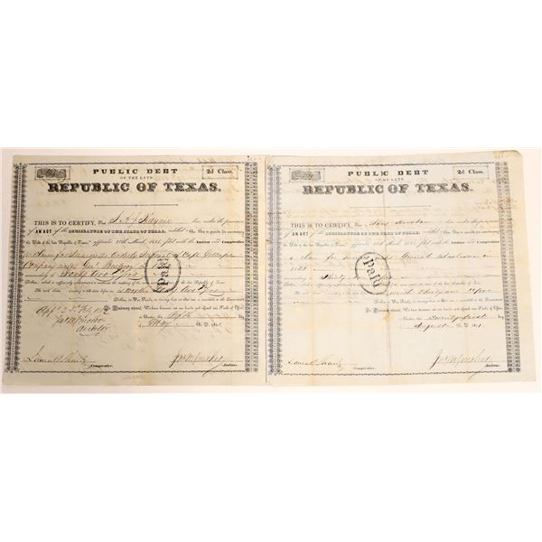 Republic of Texas class 2d Debt Relief issued to SAJ Haynie and James Houston under General Burleson