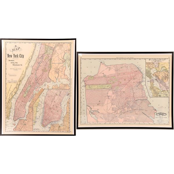 Early Rand McNally Atlas Maps in Poster Frames (2)  [131695]