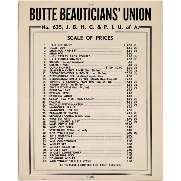 Broadside Beauticians Union Prices  [125514]