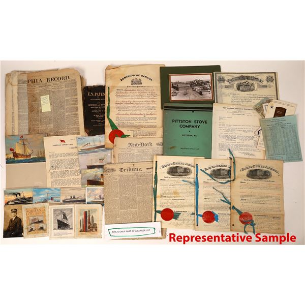 Business Related Ephemera Group of over 100 Items: includes Pittston Stove Company Patents  [131798]
