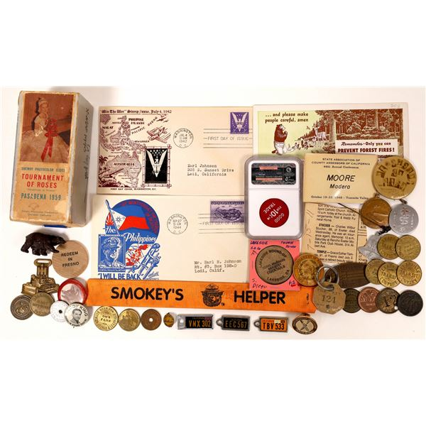 Eclectic Group of Tokens, Medals, Slides, and Other Collectables  [131806]