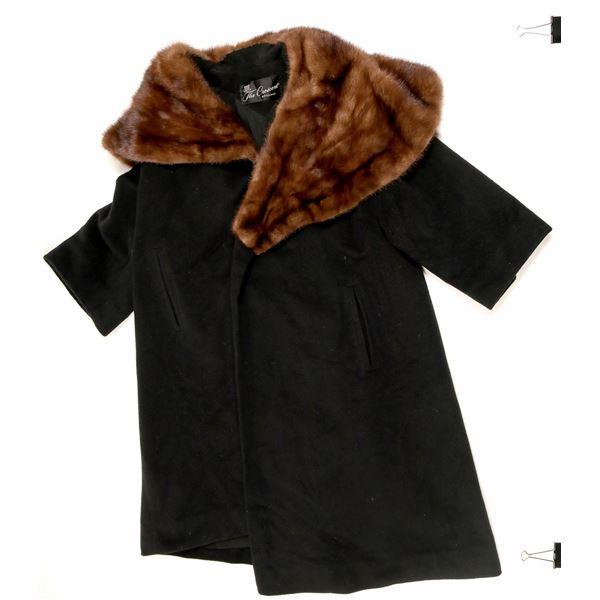 Ladies Cashmere/Fur Collar Coat  [91338]
