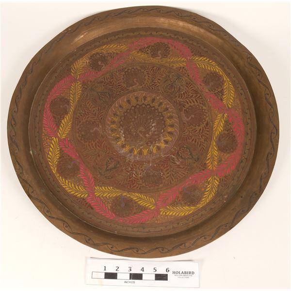 Large Brass Tray, Peacock Motif  [135311]