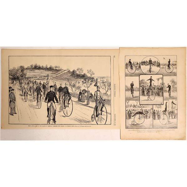 Large Wheeled Bicycle prints 1880's  [132958]