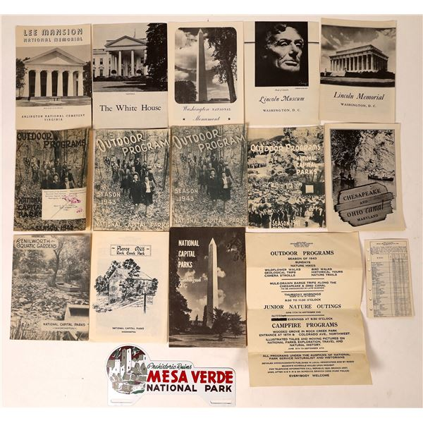 National Park Washington DC Brochures and one Metal sign  [129907]